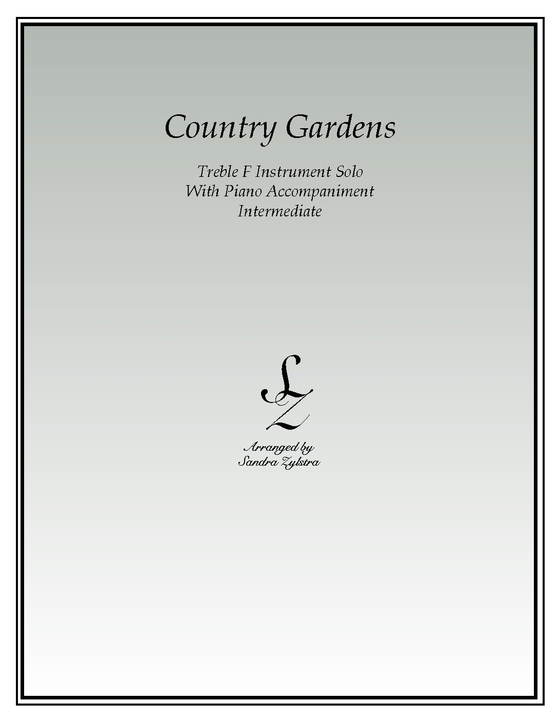 Country Gardens -Treble F Instrument Solo