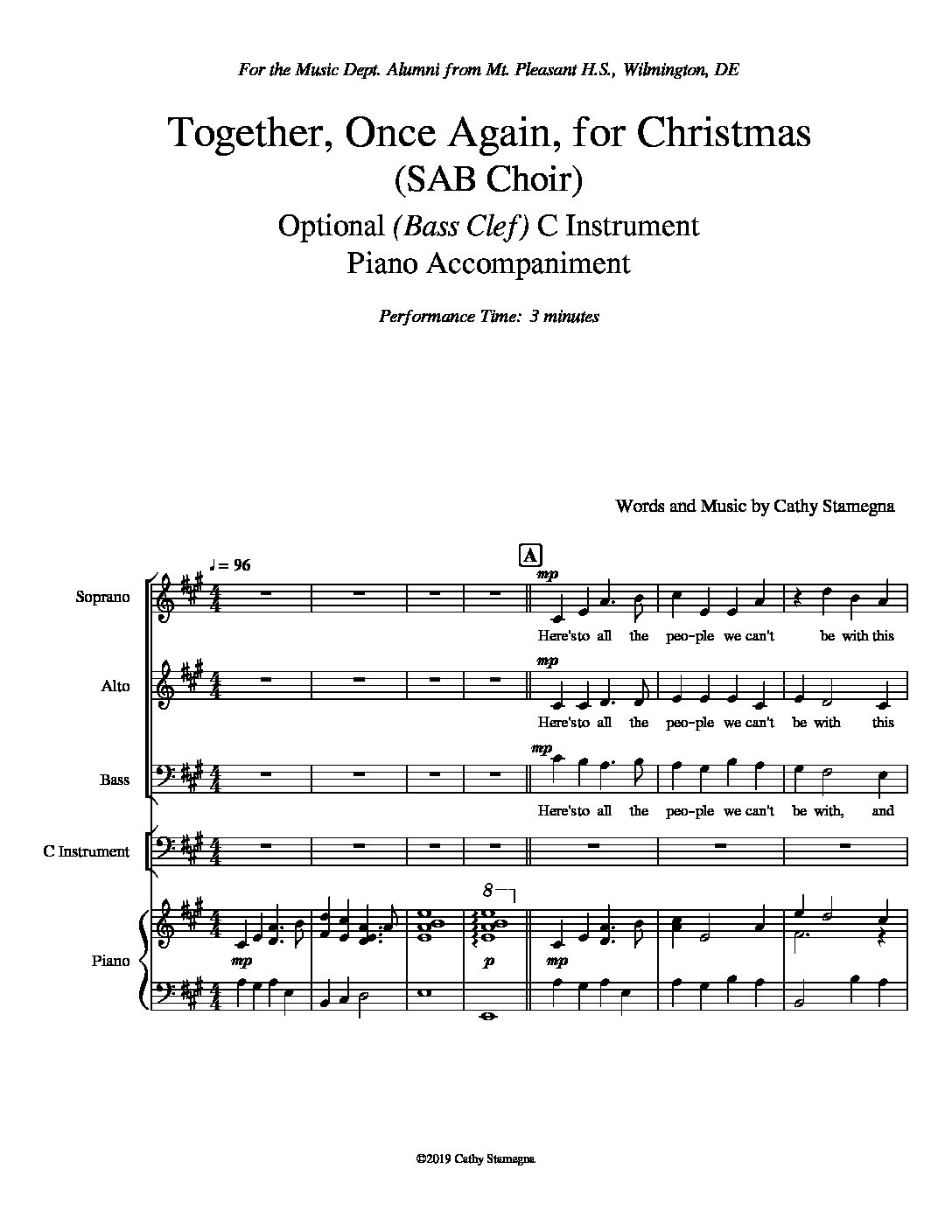 Together, Once Again, for Christmas (Optional C Instrument, Piano Accompaniment) for Unison, 2-Part, SAB, SSA, TTB Choir