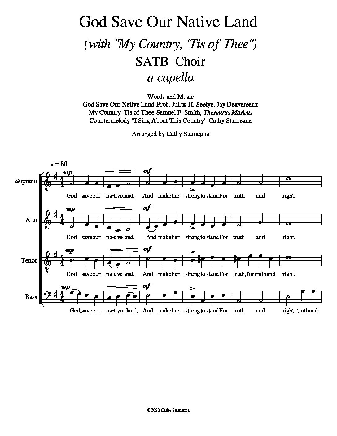 "God Save Our Native Land (with ""My Country, 'Tis of Thee"") for SATB, SAB, SSA, TTB a cappella Choir"