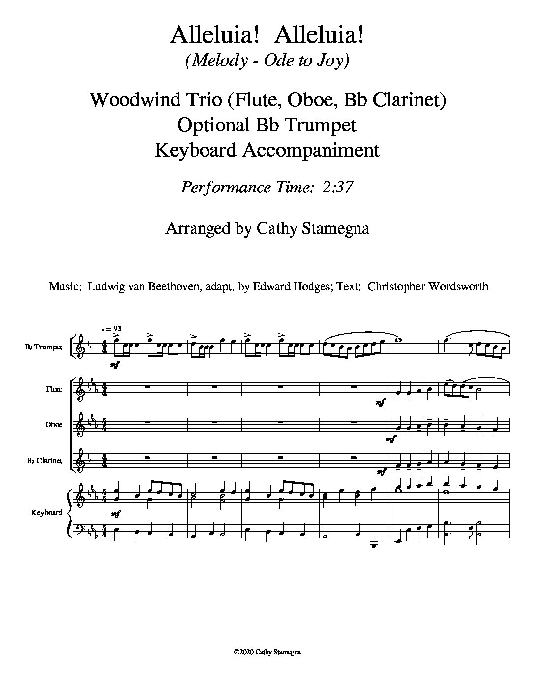 Alleluia! Alleluia! – (melody is Ode to Joy) – Woodwind Trio