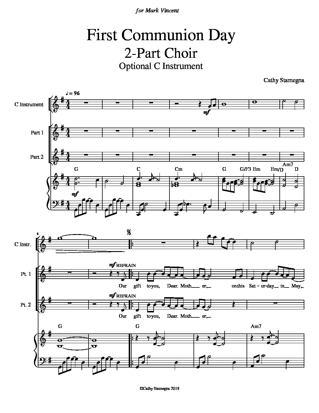 First Communion Day (Chords, Piano Acc., Optional C Instrument) for 2-Part or Unison Choir