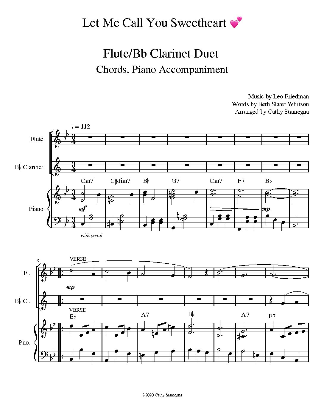 Let Me Call You Sweetheart (Woodwind Duet, Chords, Piano Accompaniment) for various woodwind combinations