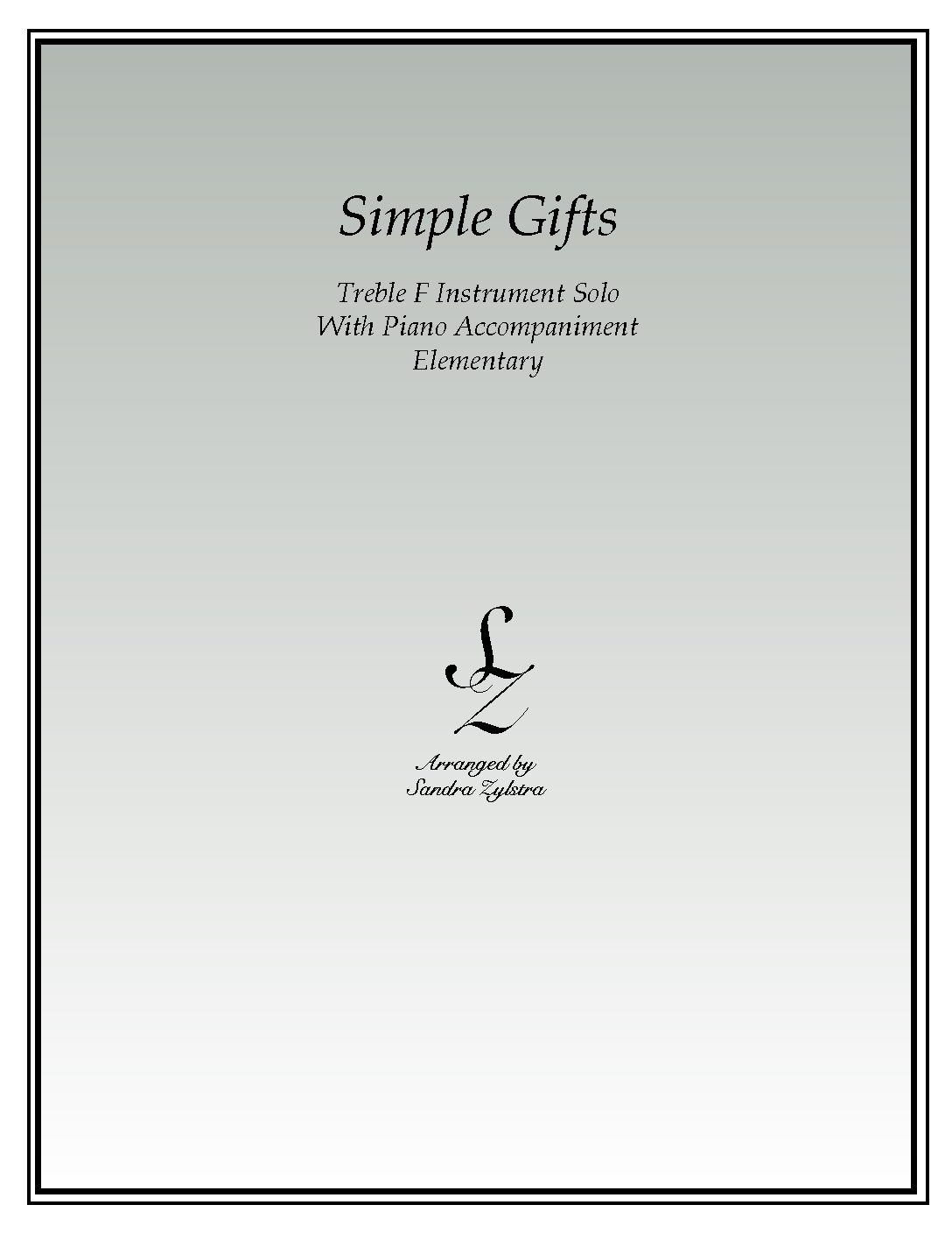 Simple Gifts -Treble F Instrument Solo