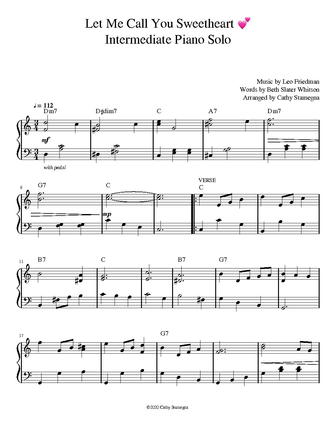 Let Me Call You Sweetheart (Intermediate Piano Solo)