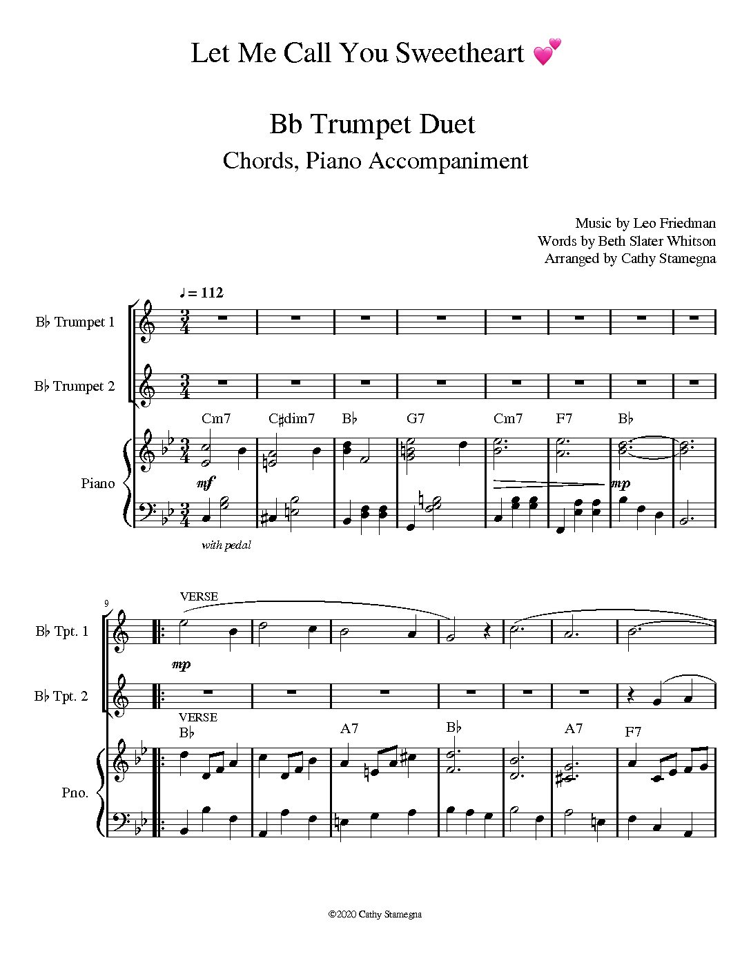 Let Me Call You Sweetheart (Brass Duet, Chords, Piano Accompaniment)