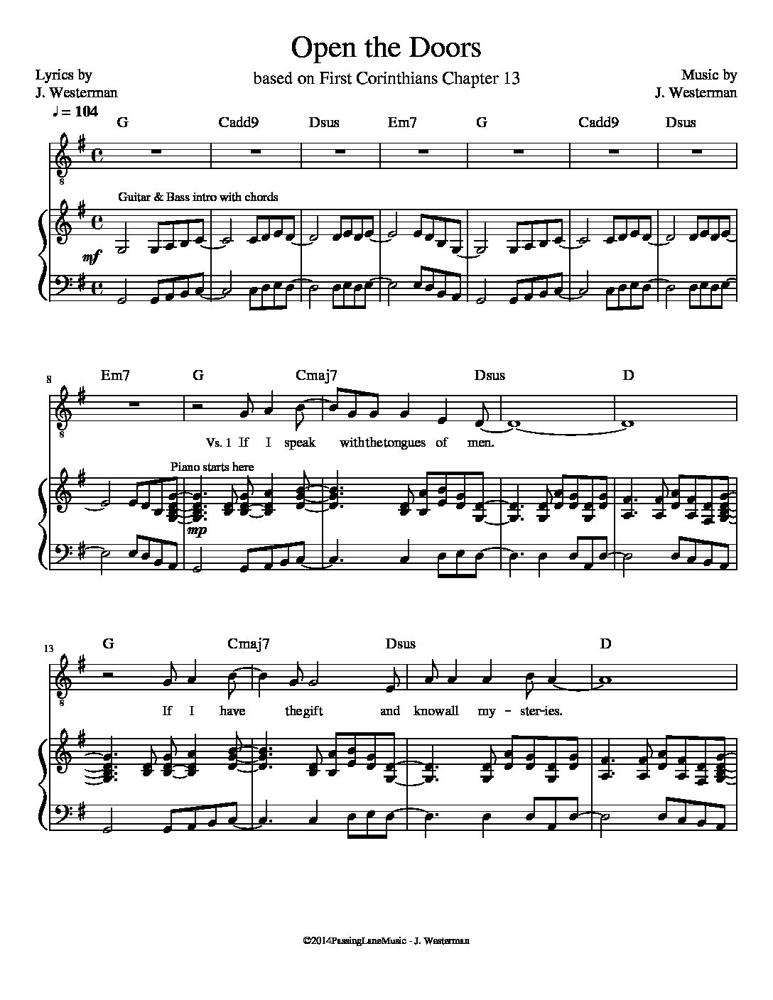 Open the Doors (Sheet Music)