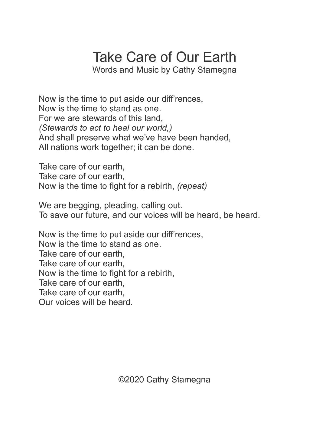 Take Care of Our Earth lyrics pdf