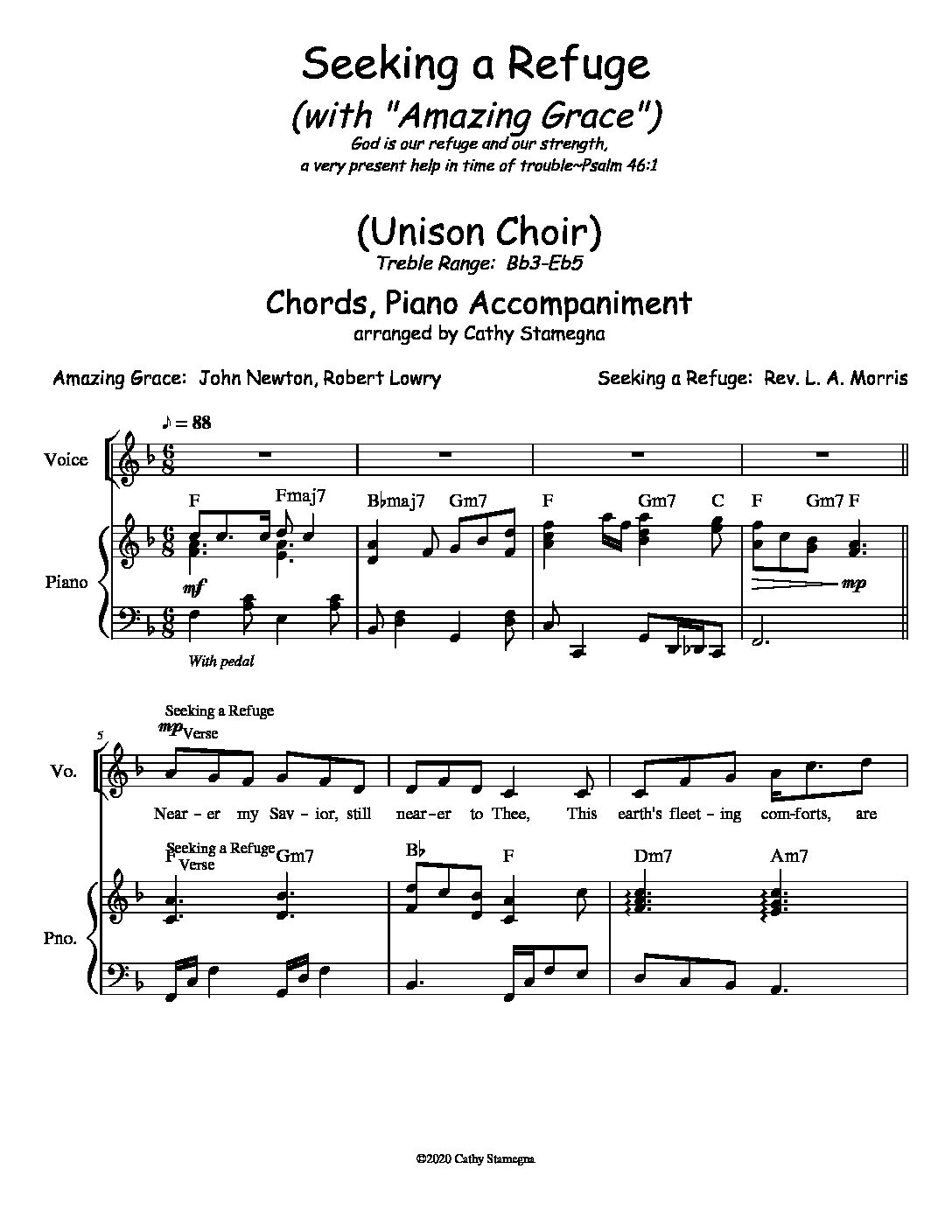 """Seeking a Refuge (with """"Amazing Grace"""") (Chords, Piano Accompaniment) for Unison, 2-Part Choir; Vocal Solo"""