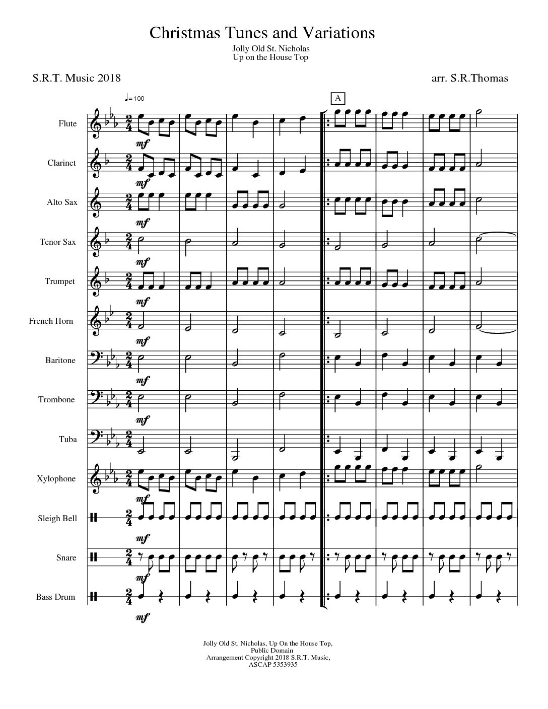 Christmas Tunes and Variations scoreSMMP pdf