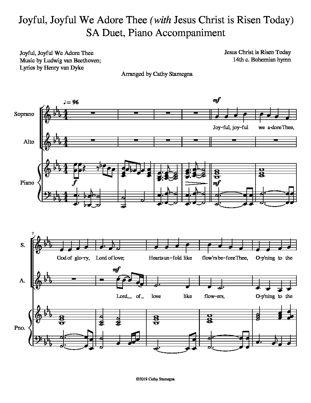 "Joyful, Joyful We Adore Thee (with ""Jesus Christ is Risen Today"") (SA, ST, TB Duet, Piano)"