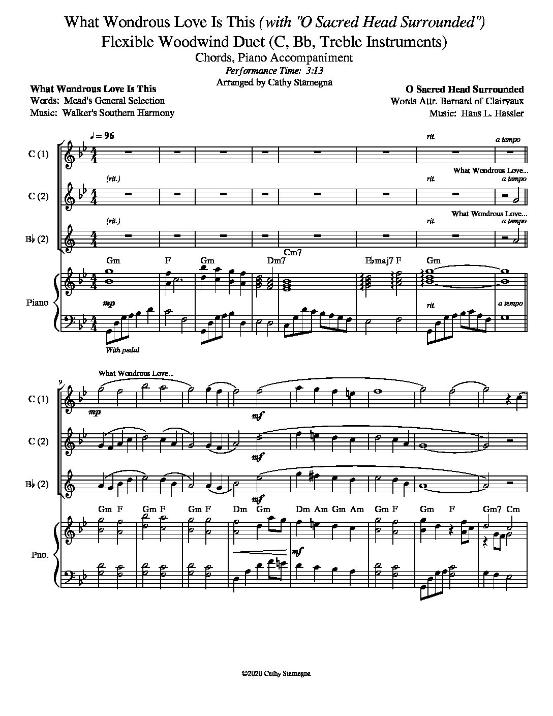 "What Wondrous Love Is This (with ""O Sacred Head Surrounded"") (Flexible Woodwind Duet for Treble C, Bb Instruments, Chords, Piano)"